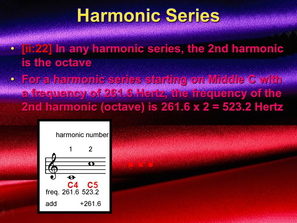 Harmonic Series [ii:22] In any harmonic series, the 2nd harmonic is the octave.